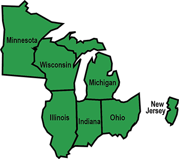 Map of Great Lakes Center states